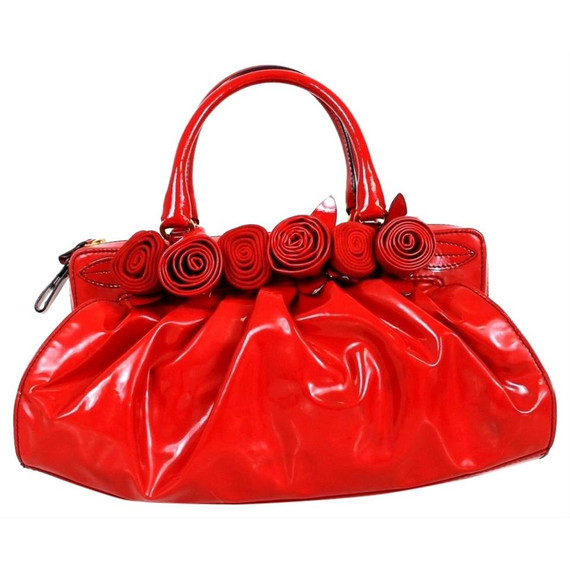 Valentino Candy Rose Embellished Red Patent Leather Tote