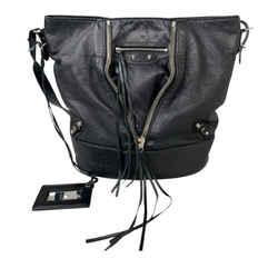 Vintage Authentic Balenciaga Black Motocross Papier Drop Bucket Bag Italy