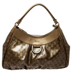 Gucci Gold/Beige GG Crystal and Leather D Ring Hobo