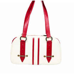 Canvas And Leather Structured Handbag