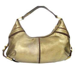 Ysl Yves Saint Laurent Leather Gold Metallic Hobo Medium Shoulder Bag