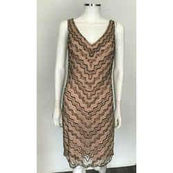 Aidan Mattox Women's Cocktail Dress Gold Nude Pearl Bronze Sequin Beaded Size 6