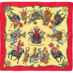 Hermes Scarf Les Fetes Du Roi Soleil Jacquard Silk Horses with COA