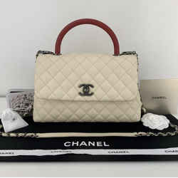 Chanel Caviar Leather With Red Lizard Handle Crossbody in Ivory