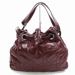 Christian Dior Bordeaux Quilted Patent Drawstring Bucket Hobo 870154