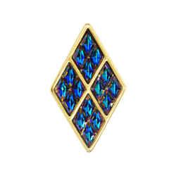 1980s Yves Saint Laurent Vermeil Iridescent Blue Rhinestone Brooch Original Box