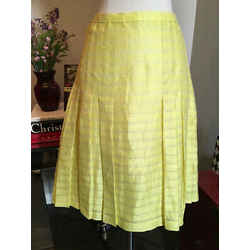 Akris Sz 6 Yellow Linen Silk Pleated Striped Summer Skirt Nwt 718-21-1720