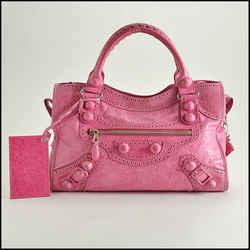 Rdc8395 Authentic Balenciaga Sorbet Pink Brogues 21mm Covered Giant Hw City Bag