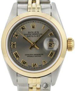 Rolex Lady Datejust Grey Dial Smooth Bezel 26mm All Original Watch