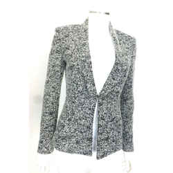 Les Copains Light Gray/black Tweed Blazer W/blk Sequins Sz 4 Eu 40