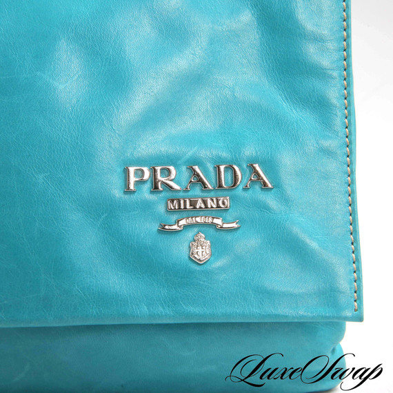 Prada New Look Turquoise Leather Metal Logo Clutch