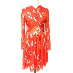 GANNI Red Floral-Print Nylon Mesh Cross-Over Front Dress