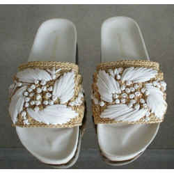Zimmerman White Raffia Pool Slides With Original Box - Size 37 - $425
