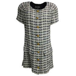 Chanel Navy Blue & Ivory Checkered Tweed Mini Cocktail Dress