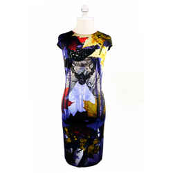 NEW $695 JUST CAVALLI Multicolored pattermed A-line Pencil Dress