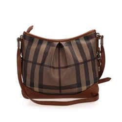Vintage Authentic Burberry Brown Smoke Check Canvas Shoulder Bag United Kingdom