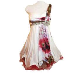 1 shoulder embellished flounce hem floral silk dress