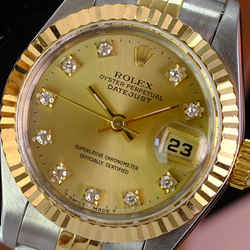 ROLEX Ladies 18kt Gold & SS 26mm DateJust Factory Champagne Dial W/Box & Papers