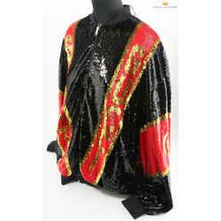 Gucci Dapper Dan Sequin Jacket In Black/red/gold