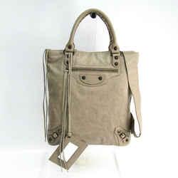 Balenciaga 272434 Women's Leather Handbag,shoulder Bag Gray Bf508228