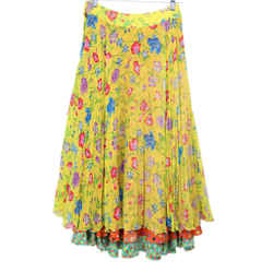 Versace Yellow Floral Silk Red Blue Pleated Skirt Sz 4