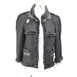 Chanel Black Crystal Metal Trim Jacket Size 6