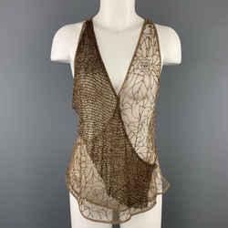 Ralph Lauren Size 8 Beige Beaded Tulle Wrapped Top