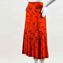 Calvin Klein Collection NWT Red Black Cotton Printed Pleated Skirt SZ 40