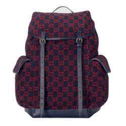Gucci Navy Blue Shearling Guccisima GG Large Rucksack Backpack 598182