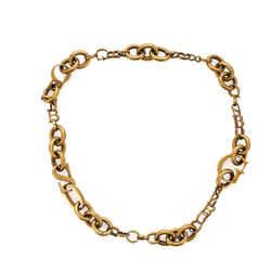 Letter Chain Link Necklace Antique Metal