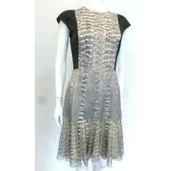 $1800 Jason Wu Black/gray Dress Snakeskin Pattern Pleat Details Sz 4 Eu 40 $1800
