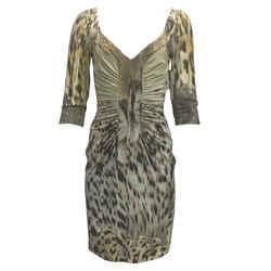 Roberto Cavalli Animal Print Ruched Short Casual Dress