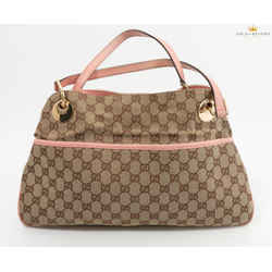Gucci Pink Leather Gg Monogram Medium Eclipse Tote