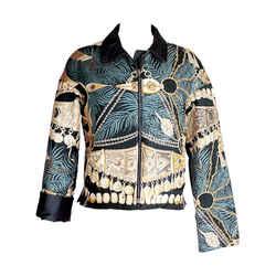 Hermes Jacket Vintage Terres Precieuses Scarf Print Reversible L