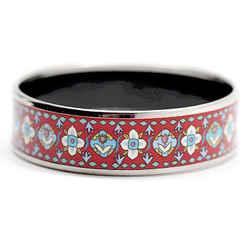 Auth Hermes 65 Wide Silver Printed Enamel Bracelet Bangle