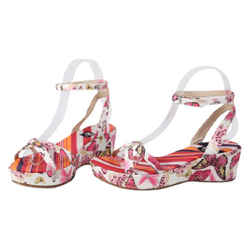 Dolce & Gabbana Butter Fly Wedges Sandals Pink Size 5.5 Authenticity Guaranteed