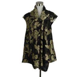 Brunello Cucinelli Black And Gold Floral Vest Sz. 12