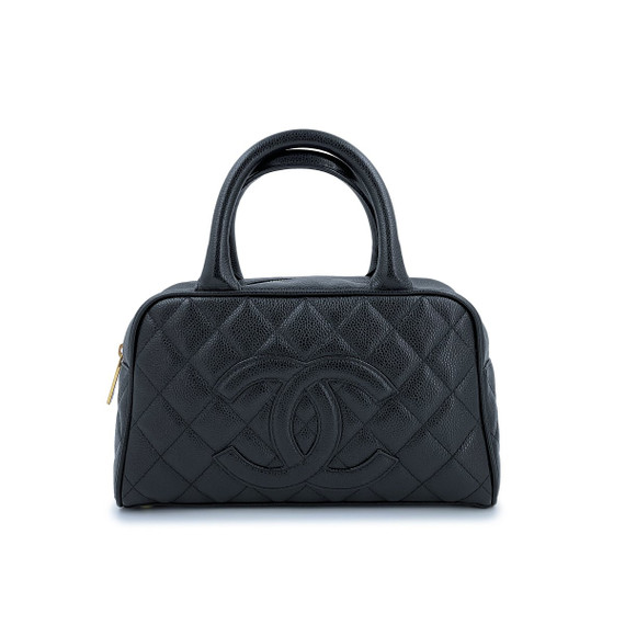 Chanel Black Caviar Quilted Mini Bowler Bag