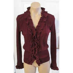 Anne Fontaine Burgundy Ribbed Parfait Sweater With Ruffle Detail - Size 40