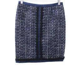 Tory Burch Navy Tweed Skirt sz 0