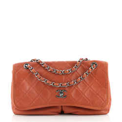 Natural Beauty Split Pocket Flap Bag Quilted Caviar Medium