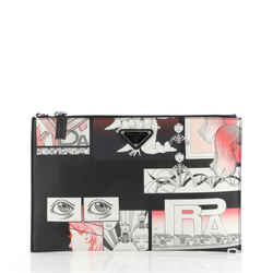 Comic Wristlet Clutch Printed Saffiano Medium
