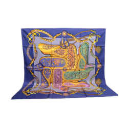 Authentic Hermes Vintage 100% Silk Scarf Festival d'Origny Navy Blue Purple 90cm