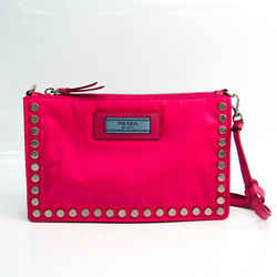 Prada Studs Women's Leather,Nylon Clutch Bag,Shoulder Bag Pink BF519801