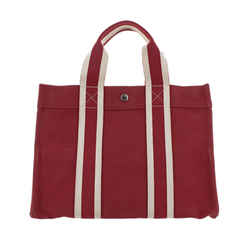 Vintage Authentic Hermes Red  with White Canvas Fabric Fourre Tout PM France