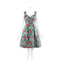 Oscar de la Renta Dress Multicolor Floral Print Silk Fit and Flare SZ 8