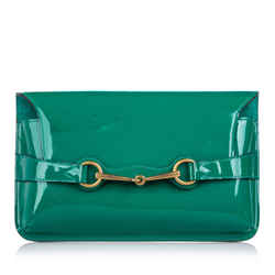 Vintage Authentic Gucci Green Patent Leather Leather Bright Bit Clutch Bag Italy