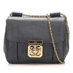 Vintage Authentic Chloe Black Calf Leather Elsie Shoulder Bag France
