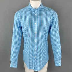 Ralph Lauren Size S Aqua Checkered Cotton Spread Collar Button Up Long Sleeve Shirt