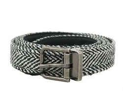 Dolce & Gabbana Black White Chevron Wool Leather Men's Belt